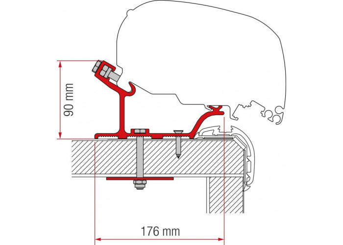 Кронштейн-перехідник для маркізи F80-F65 Carthago Malibu 400 Fiamma