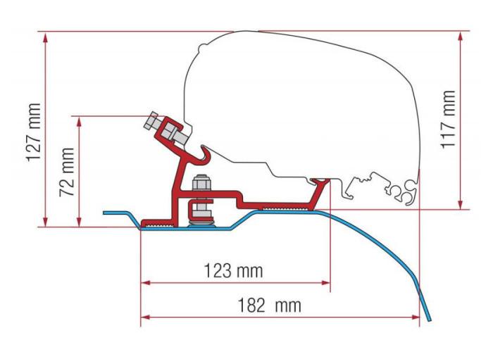 Адаптер для маркізи F80-F65 Kit Ducato-Jumper-Boxer H2 L2-L3 06.2006 Fiamma